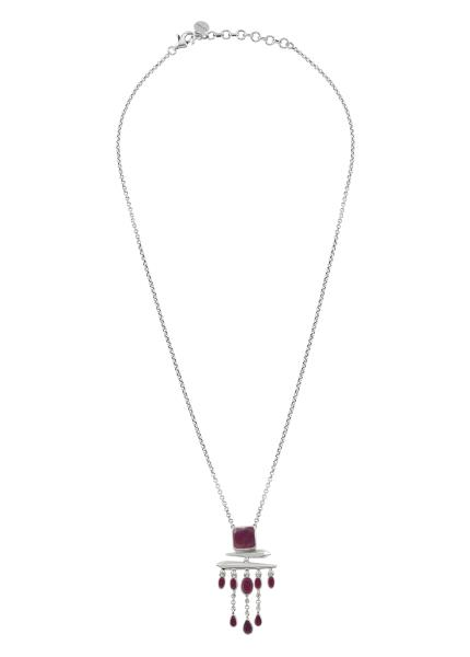 Silver Ruby Square Drop Pendant Necklace