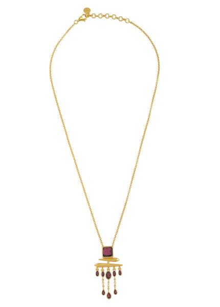 Silver Gold Plated Garnet Square Drop Pendant Necklace