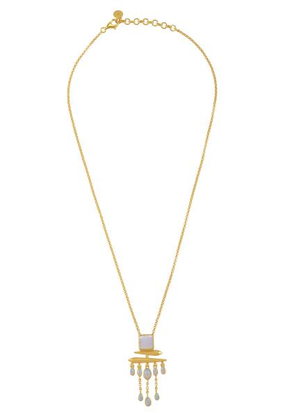 Silver Gold Plated Opal Square Drop Pendant Necklace