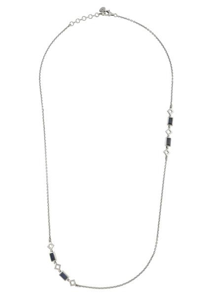 Silver Blue Sapphire Chain Necklace