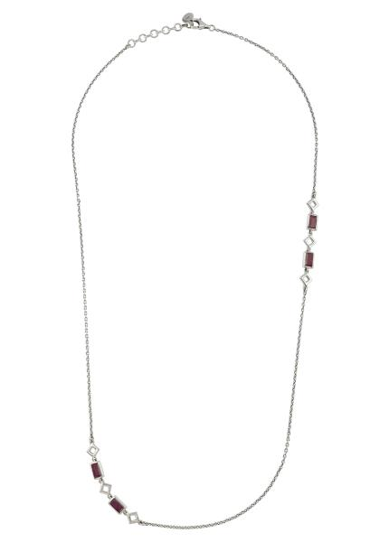 Silver Ruby Chain Necklace