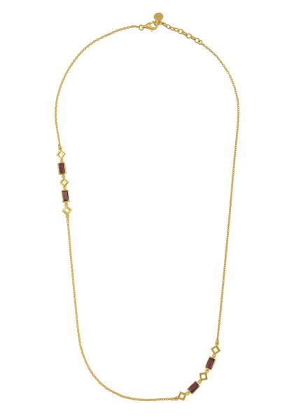 Silver Gold Plated Garnet Chain Necklace