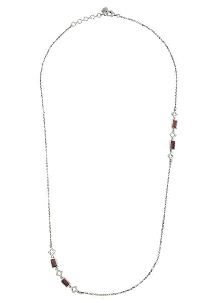 Silver Garnet Chain Necklace