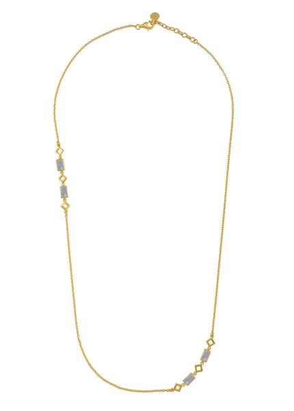 Silver Gold Plated Opal Chain Necklace