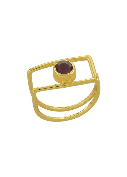 Silver Gold Plated Geo Ruby Ring