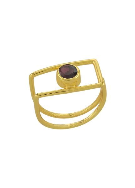 Silver Gold Plated Geo Garnet Ring