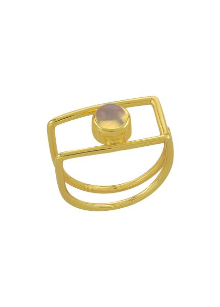 Silver Gold Plated Geo Opal Ring