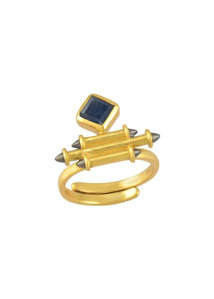 Silver Gold Plated Sapphire Rhombus Taveez Ring