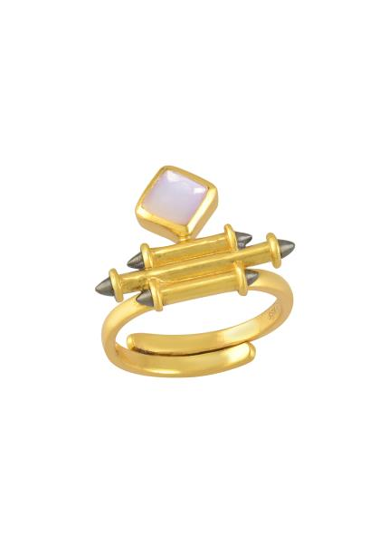 Silver Gold Plated Opal Rhombus Taveez Ring