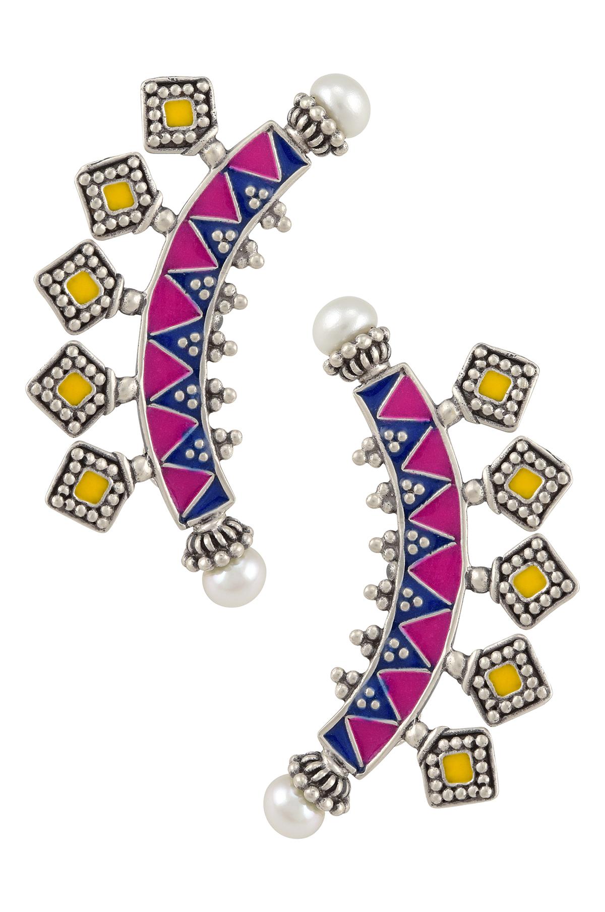 Color Pop Geometric Pearl Enameled Earcuffs