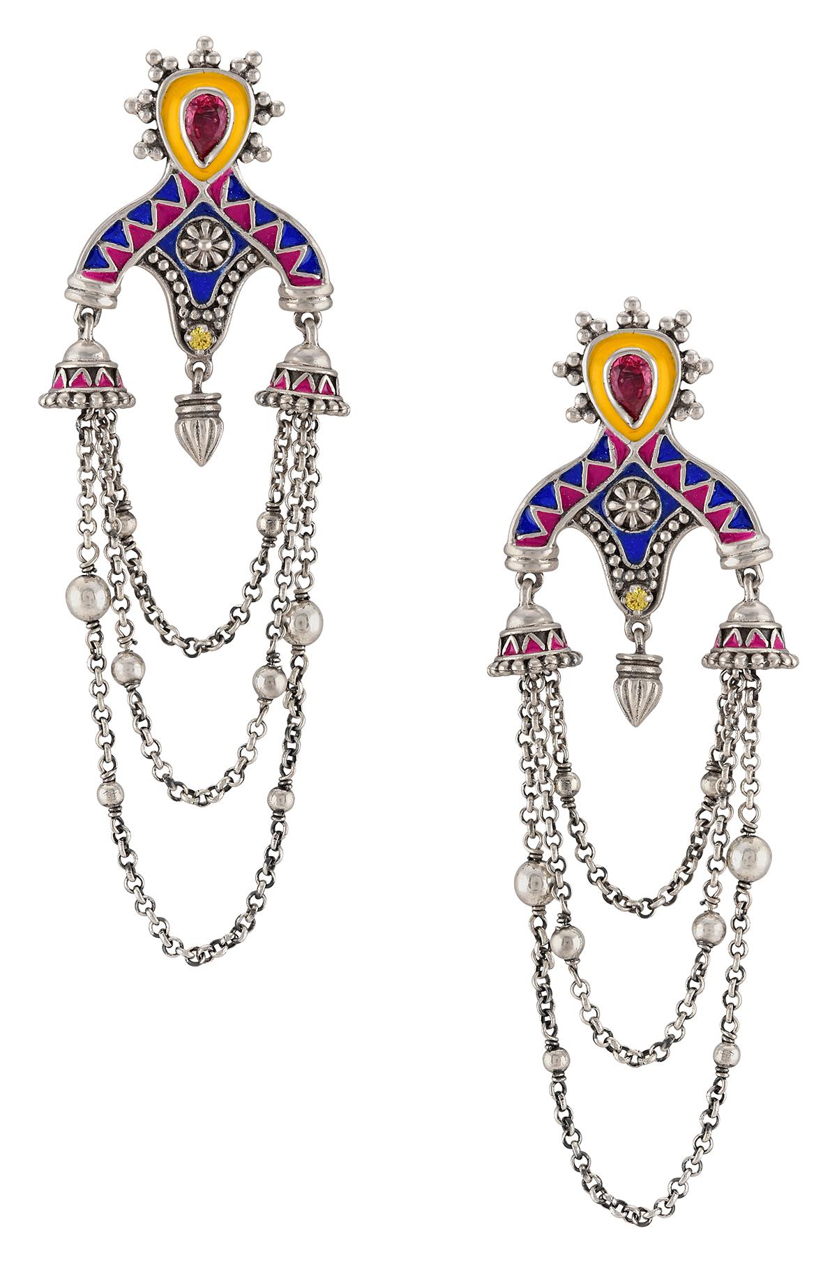 Color Pop Jhumki Triple Strand Tassel Earrings