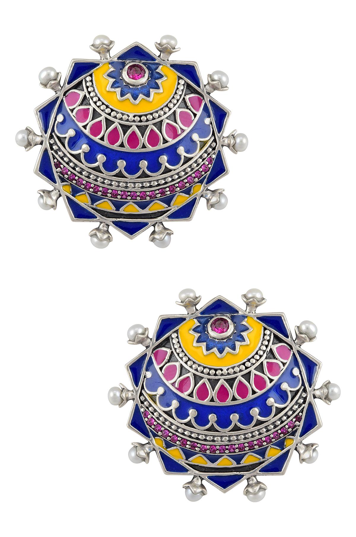 Color Pop Decagon Enamel Pearl Ear Stud