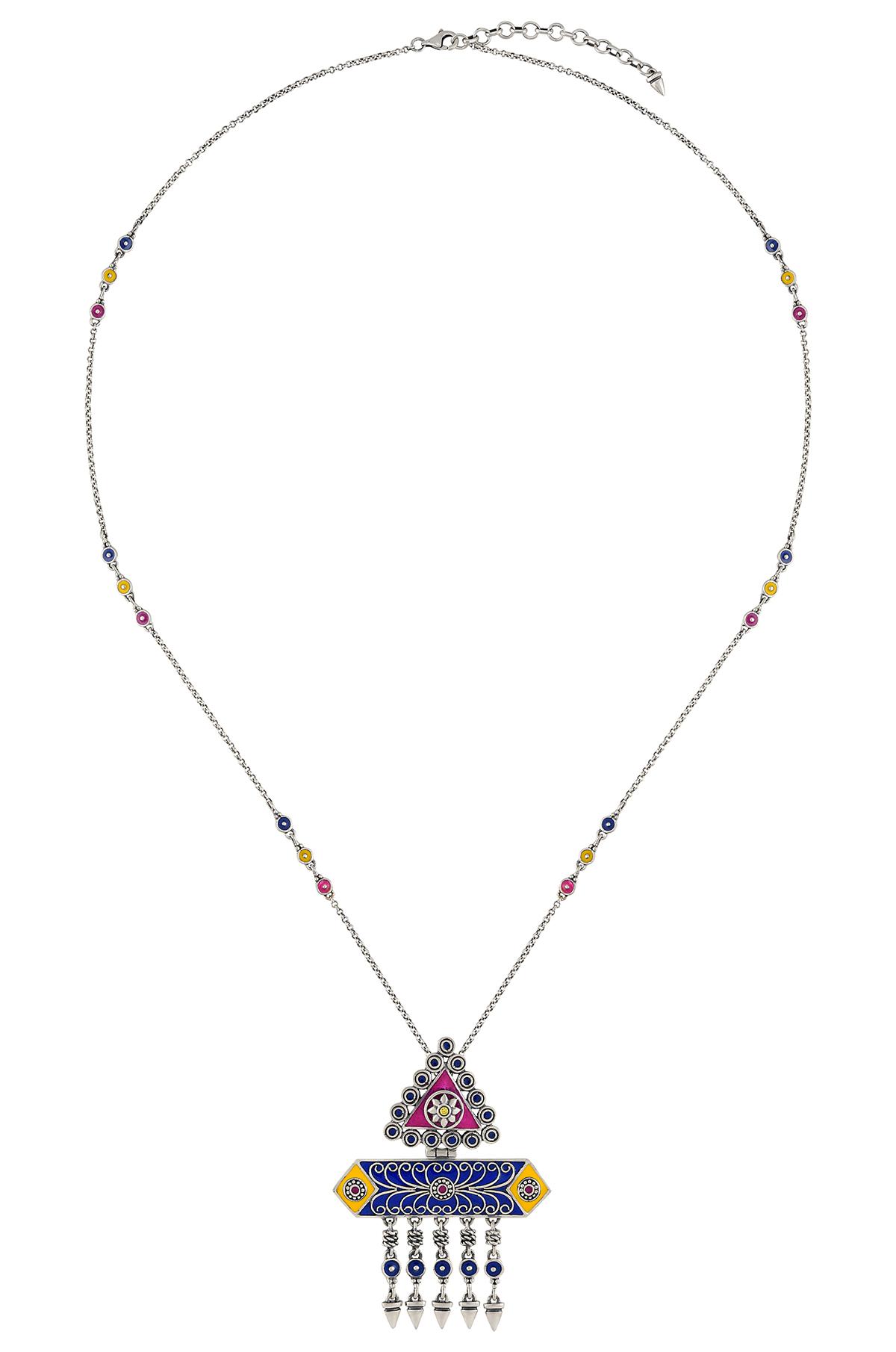 Color Pop Enameled Geometric Tassel Necklace