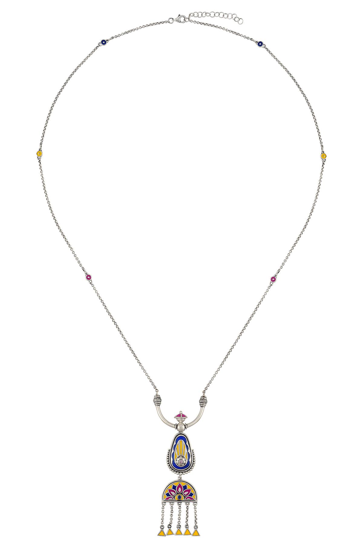Color Pop Enameled Floral Dome Tassel Necklace