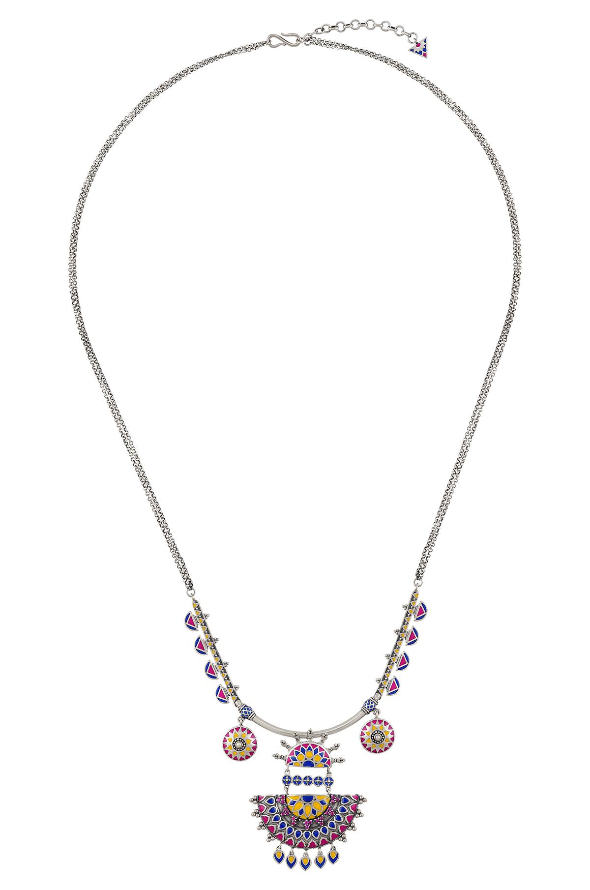 Color Pop Enameled Pendant Necklace