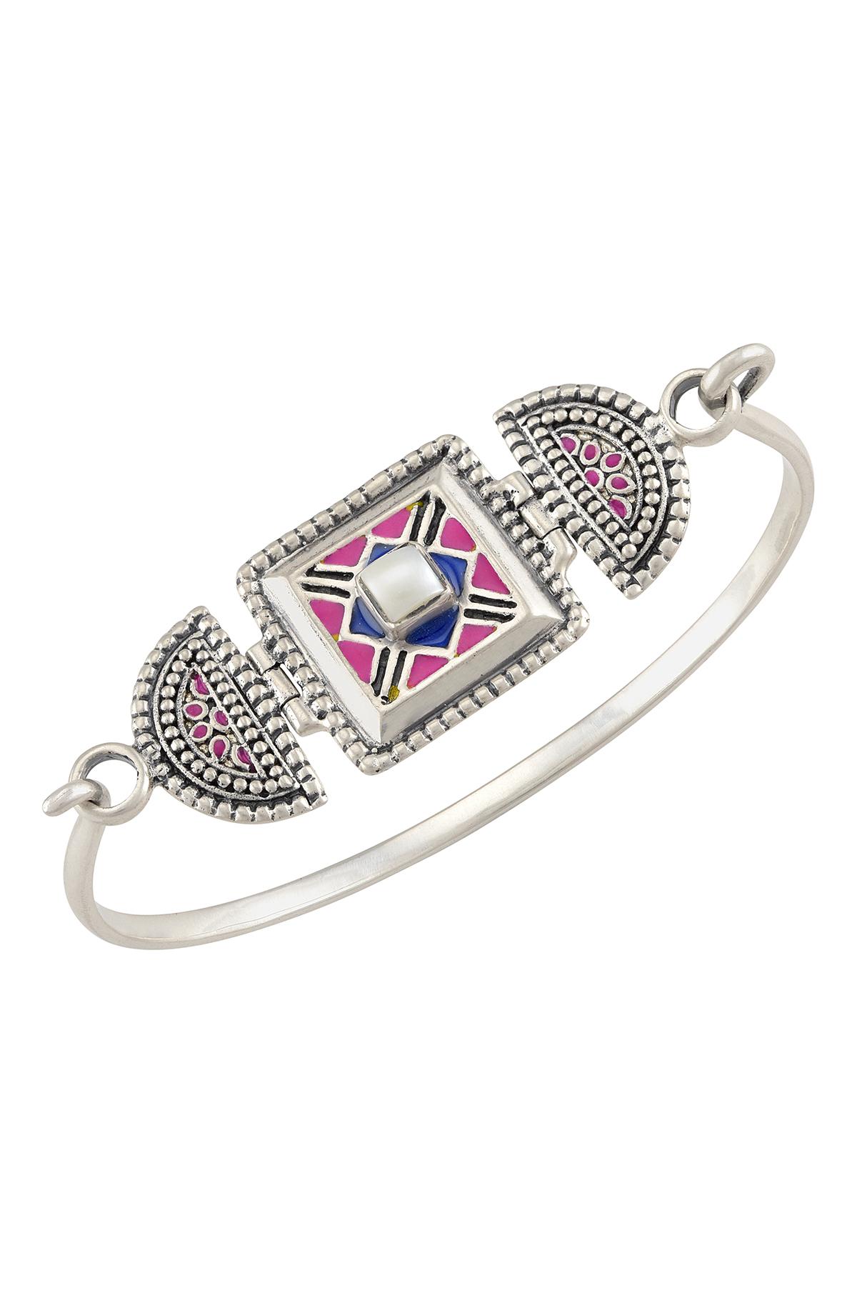 Color Pop Enameled Geometric Embellishment Bracelet