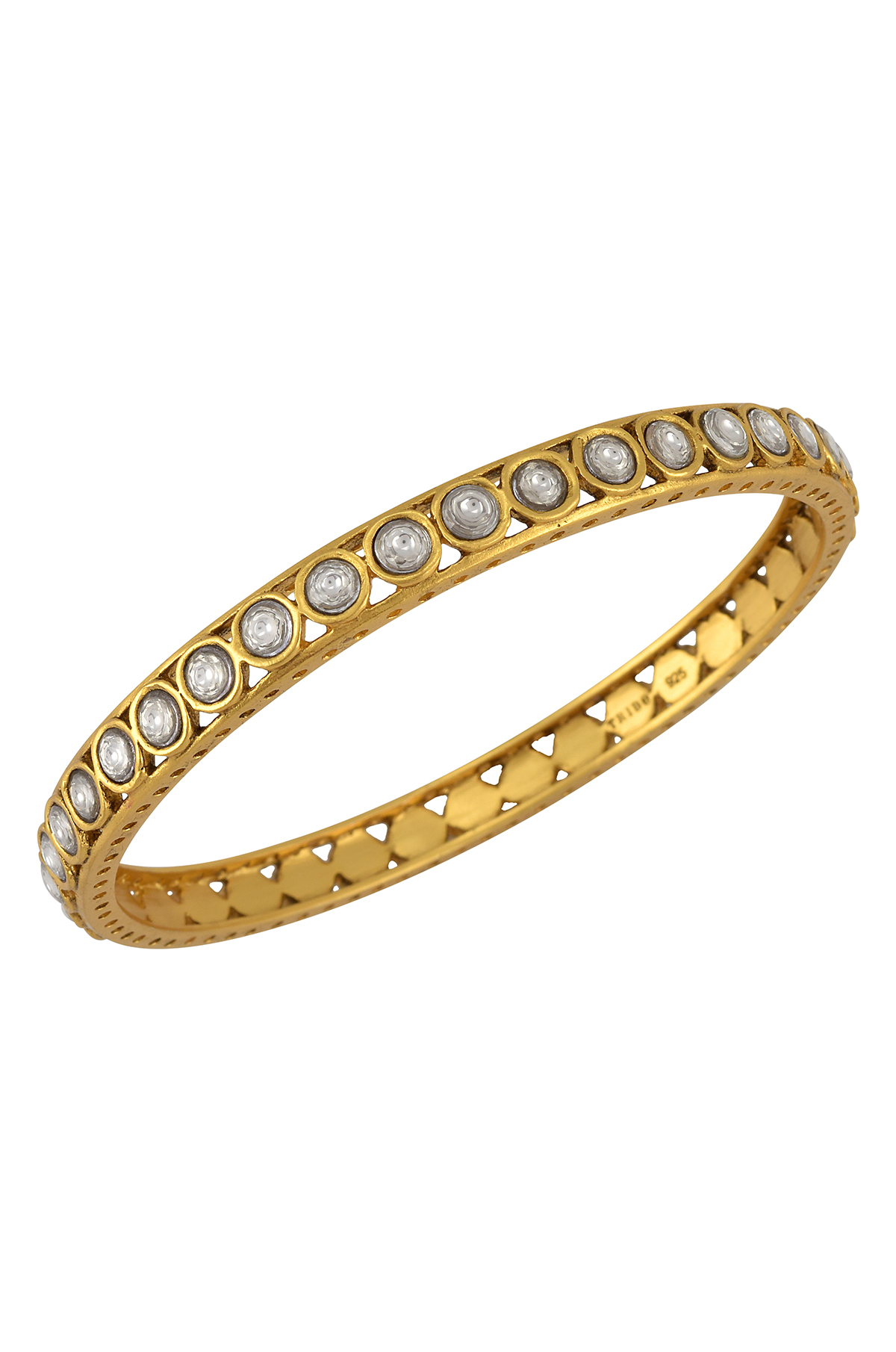 Silver Gold Plated Round Motif White Glass Bangle