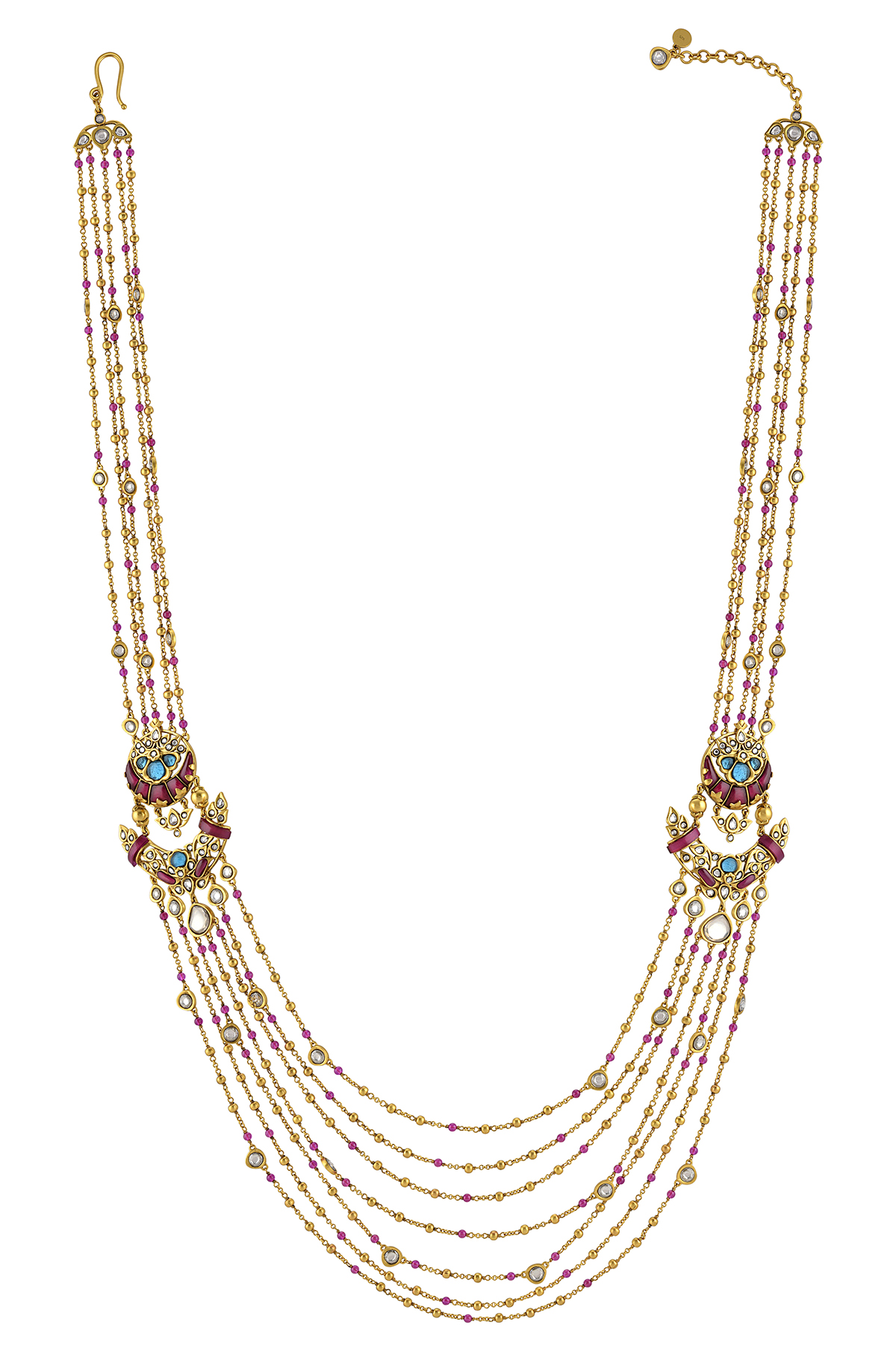 Silver Gold Plated Lotus Moon Rani Haar Necklace
