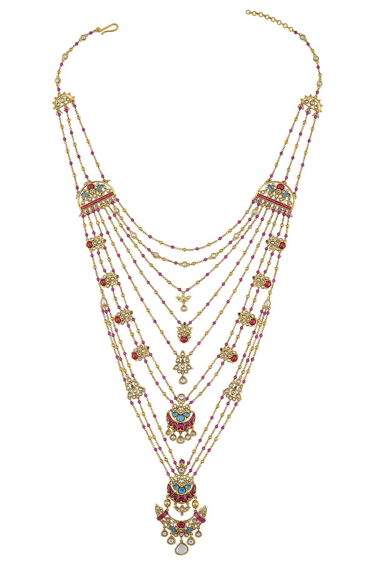 Silver Gold Plated Lotus Moon Satlada Necklace