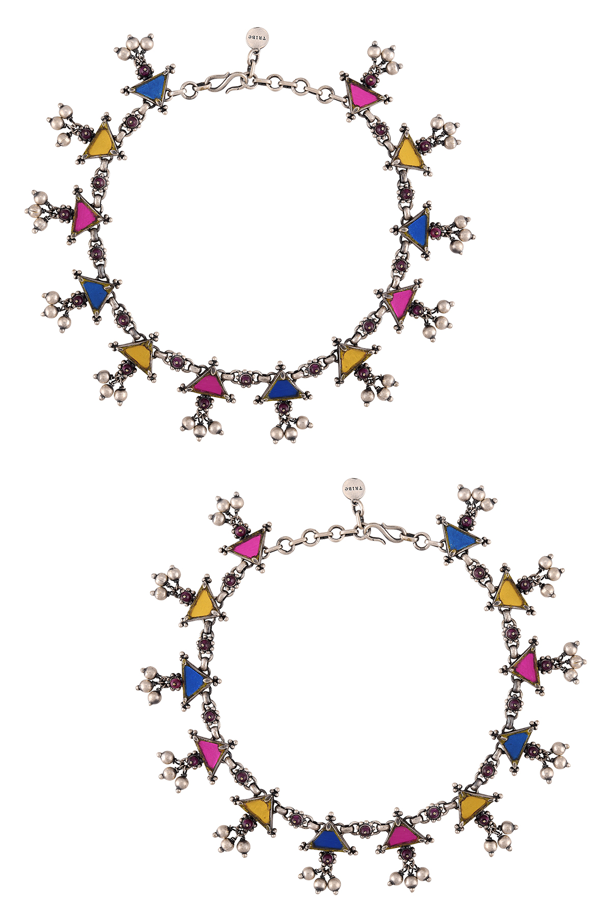 Silver Plated Triangle Rawa Charm Ball Drop Colorful Glass Anklets