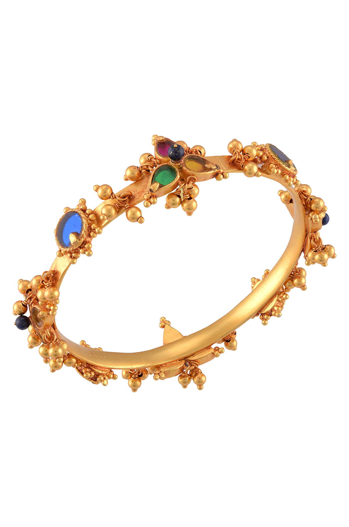 Gold Plated Glass Flower Ball Cluster Bangle