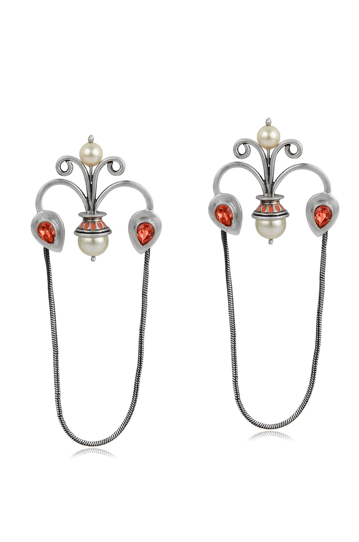 Mughal Garden Chain Drop Earrings