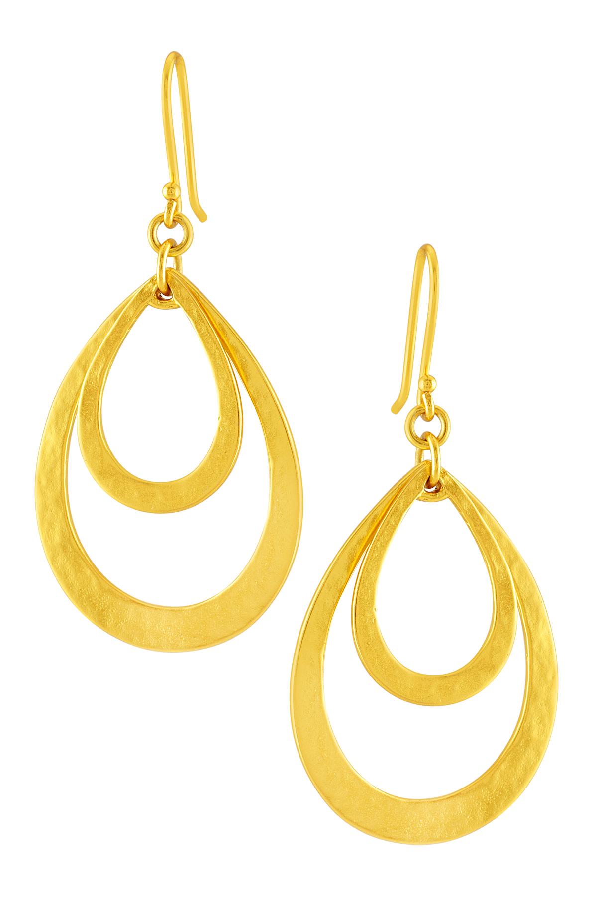 Gold Plated Dual Pear Drop Earrings