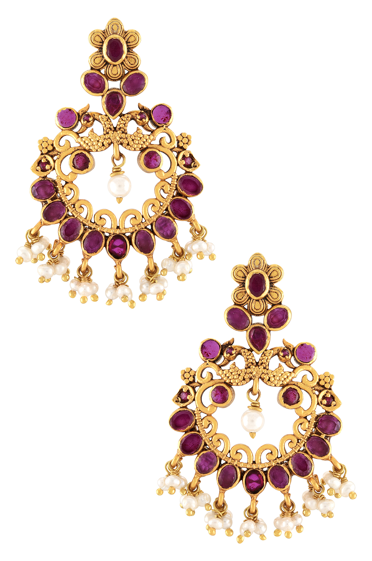Silver Gold Plated Floral Mayura Earrings