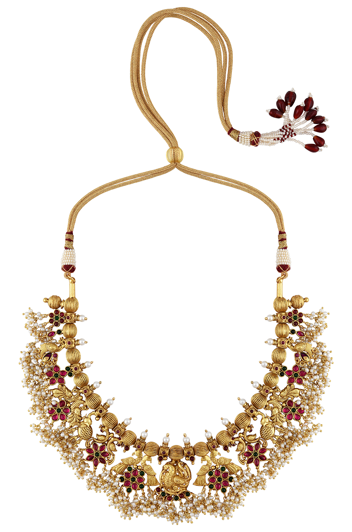 Silver Gold Plated Peacock Garden Thread Necklace