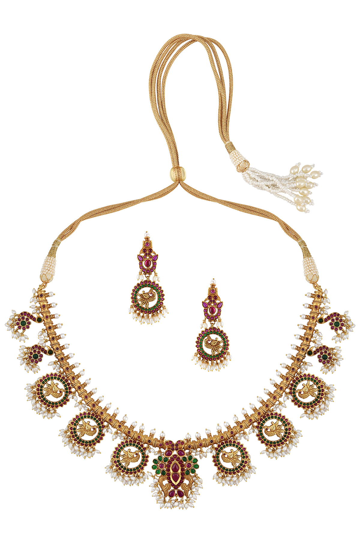 Silver Gold Plated Mayura Flower Temple Necklace Earrings Set