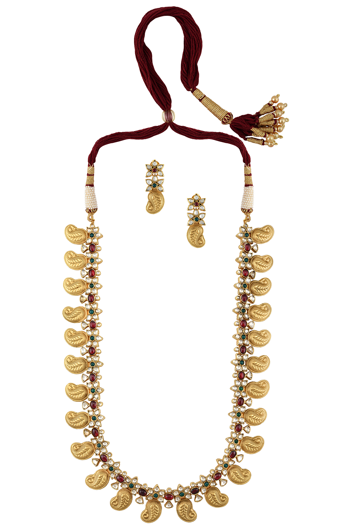 Silver Gold Plated Floral Mango Necklace Earrings Set