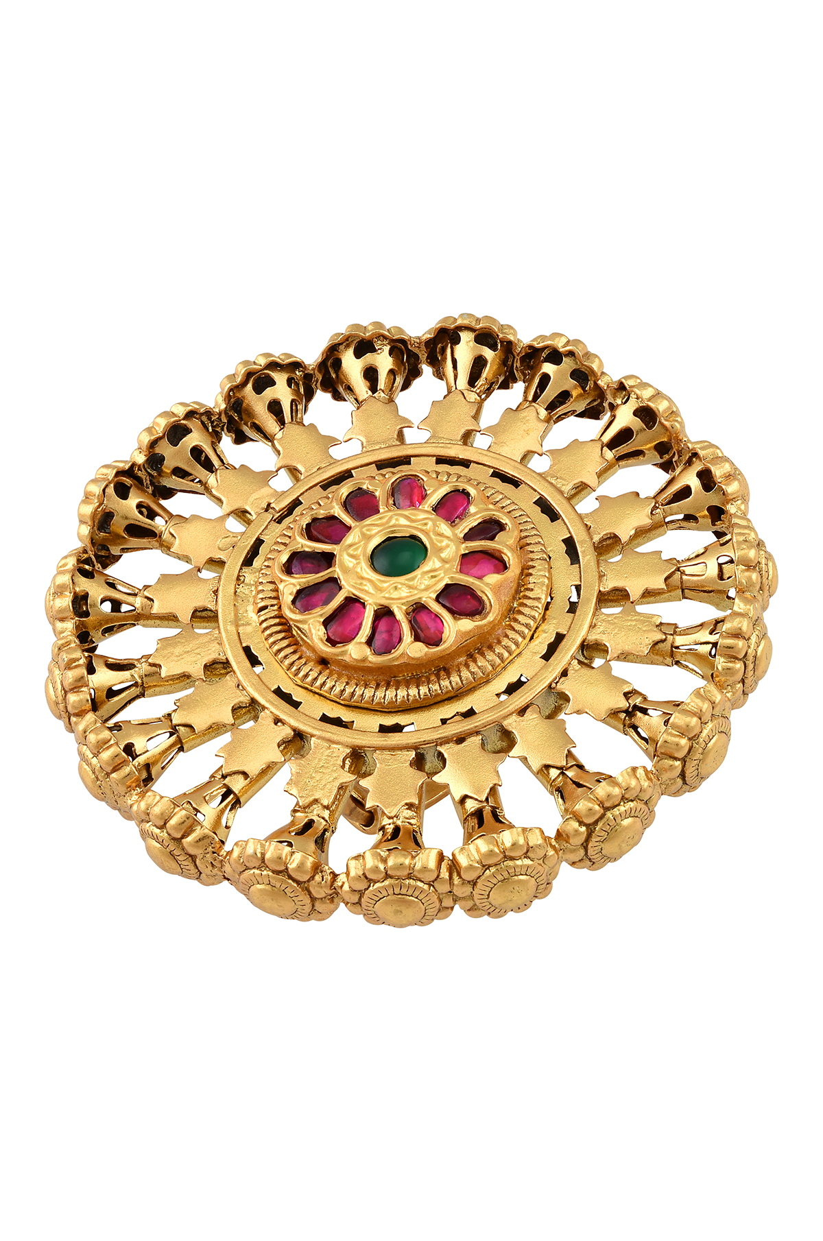 Silver Gold Plated Flower Chakra Ring