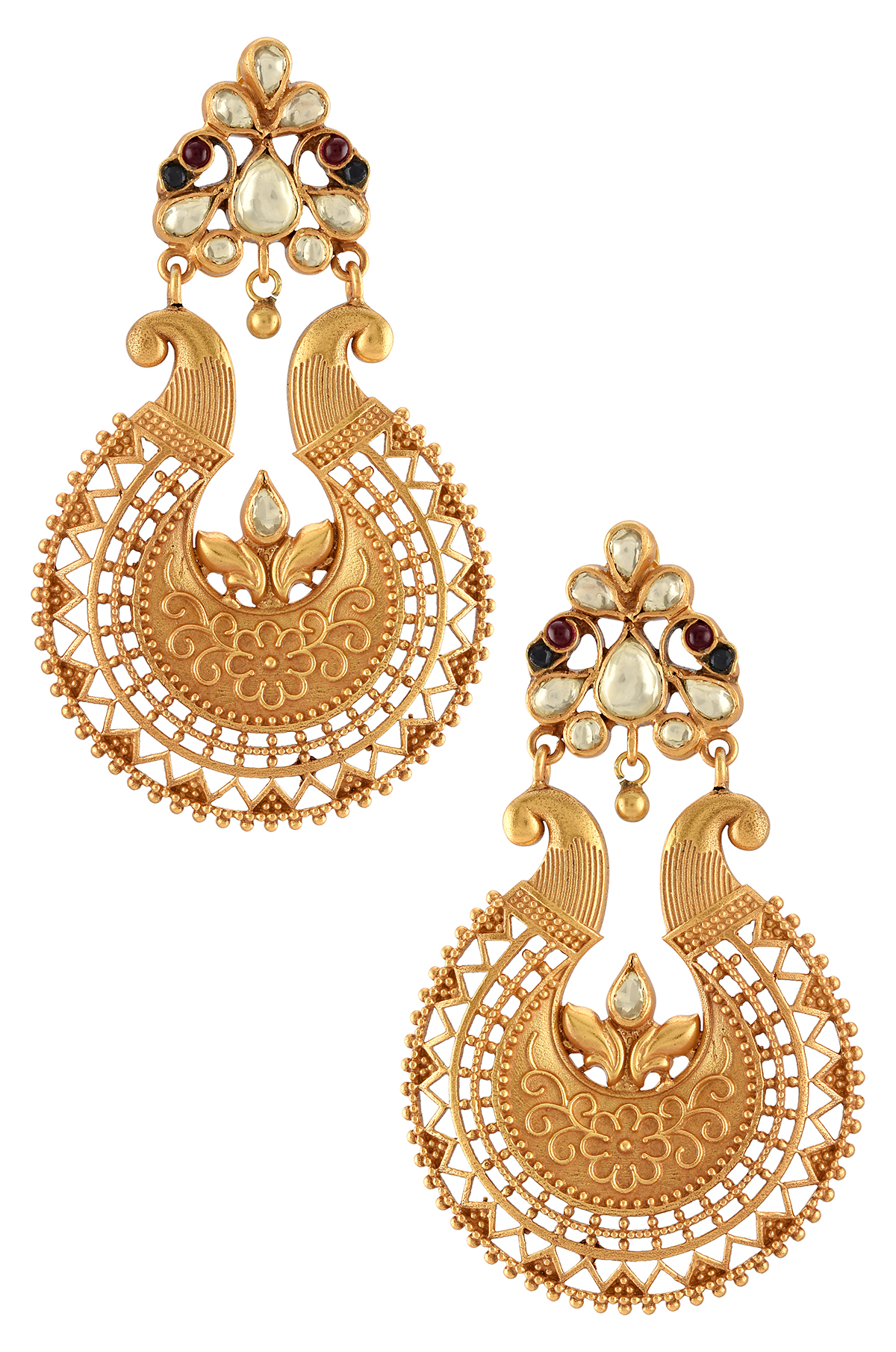 Silver Gold Plated Mayura Temple Earrings