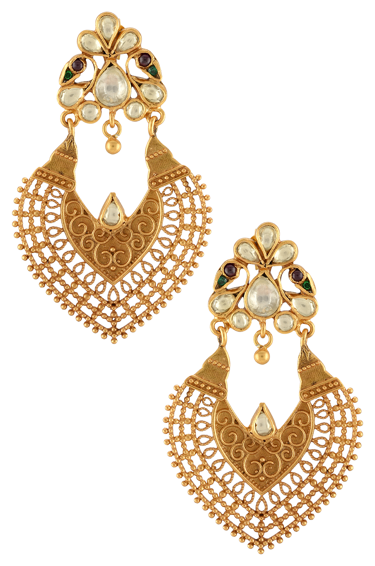Silver Gold Plated Mayura Filigree Temple Earrings