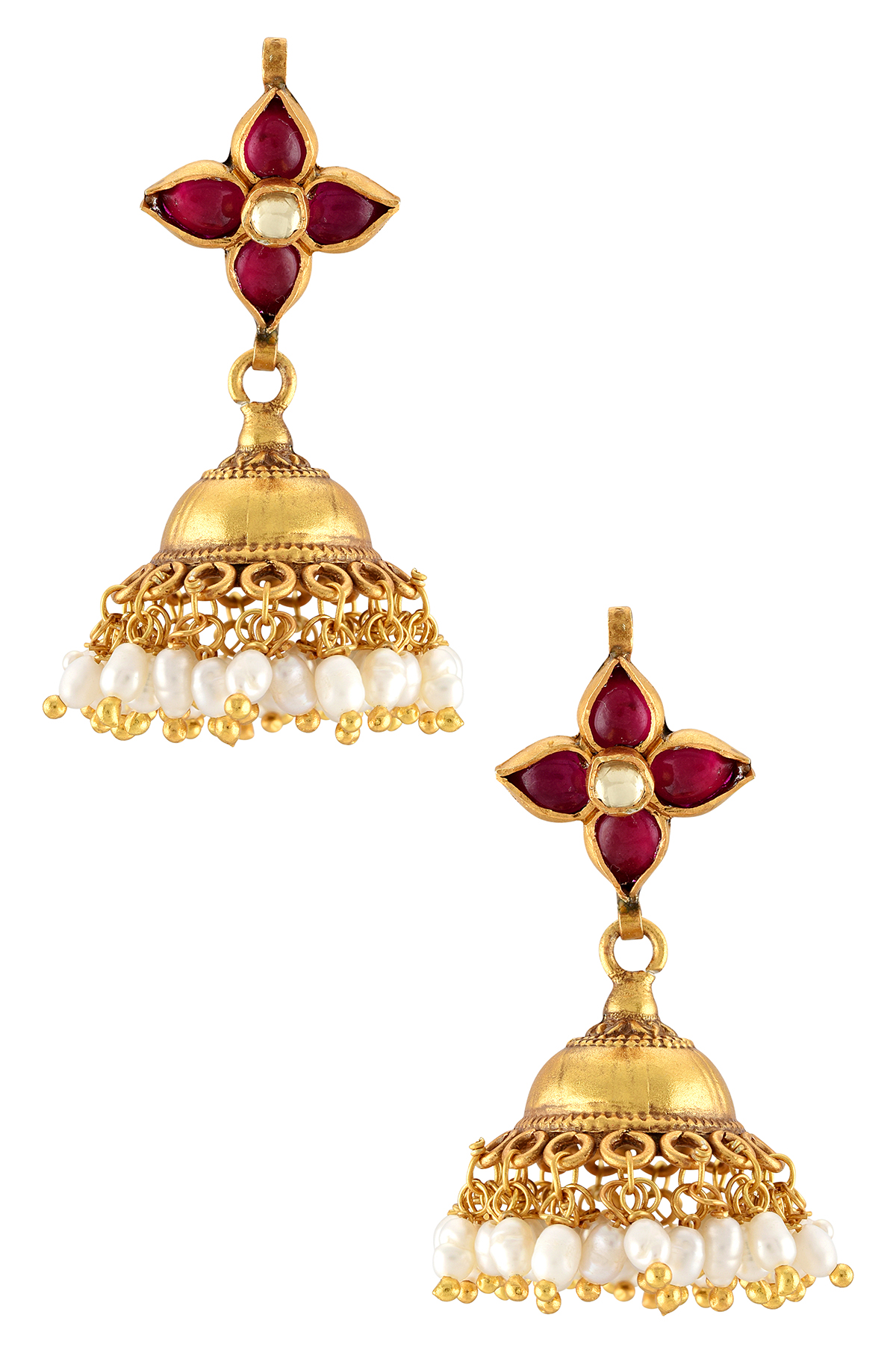 Silver Gold Plated Flower Pearl Jhumki Earrings