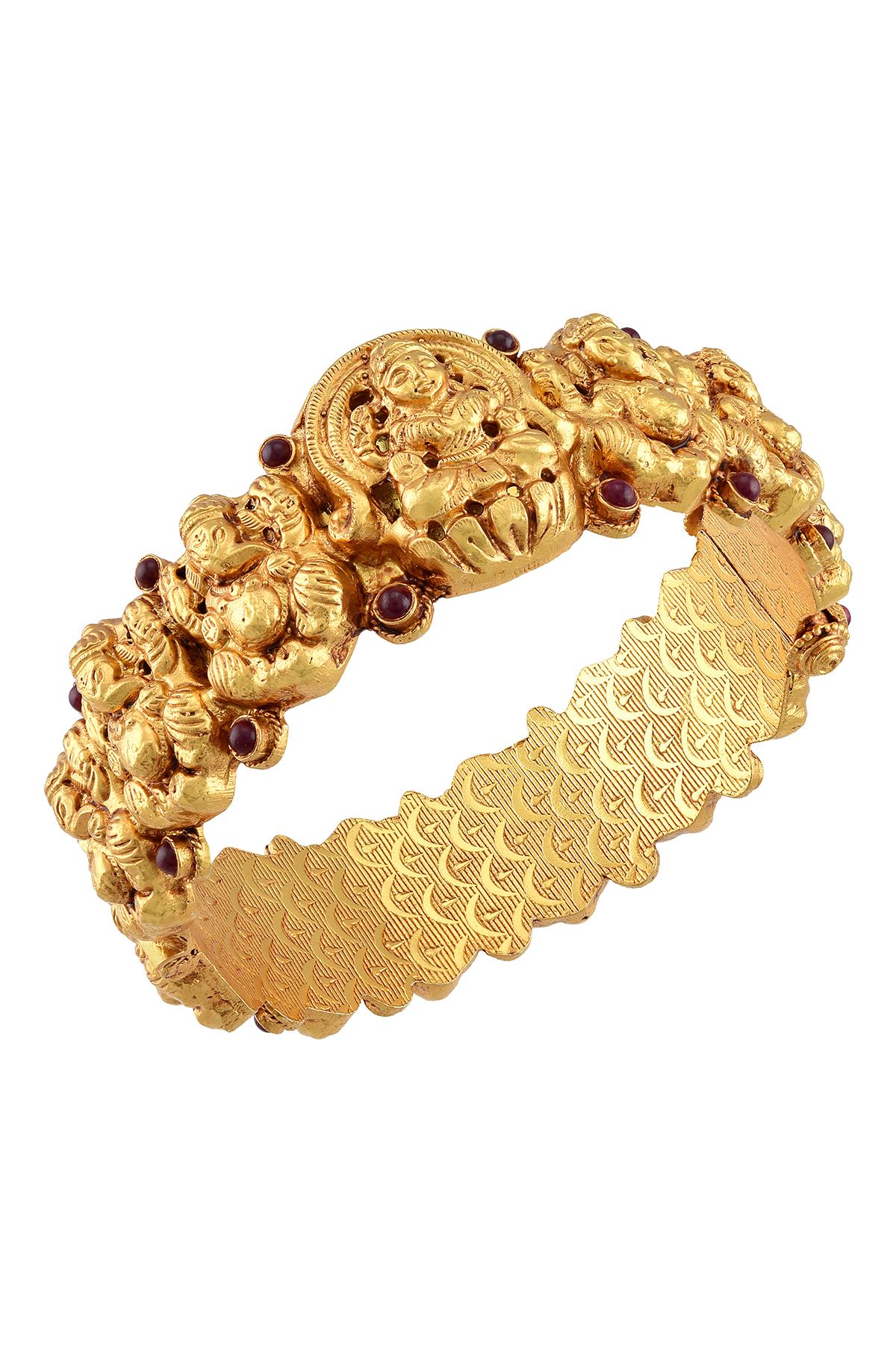 Silver Gold Plated Laxmi Ganesha Temple Style Bangle