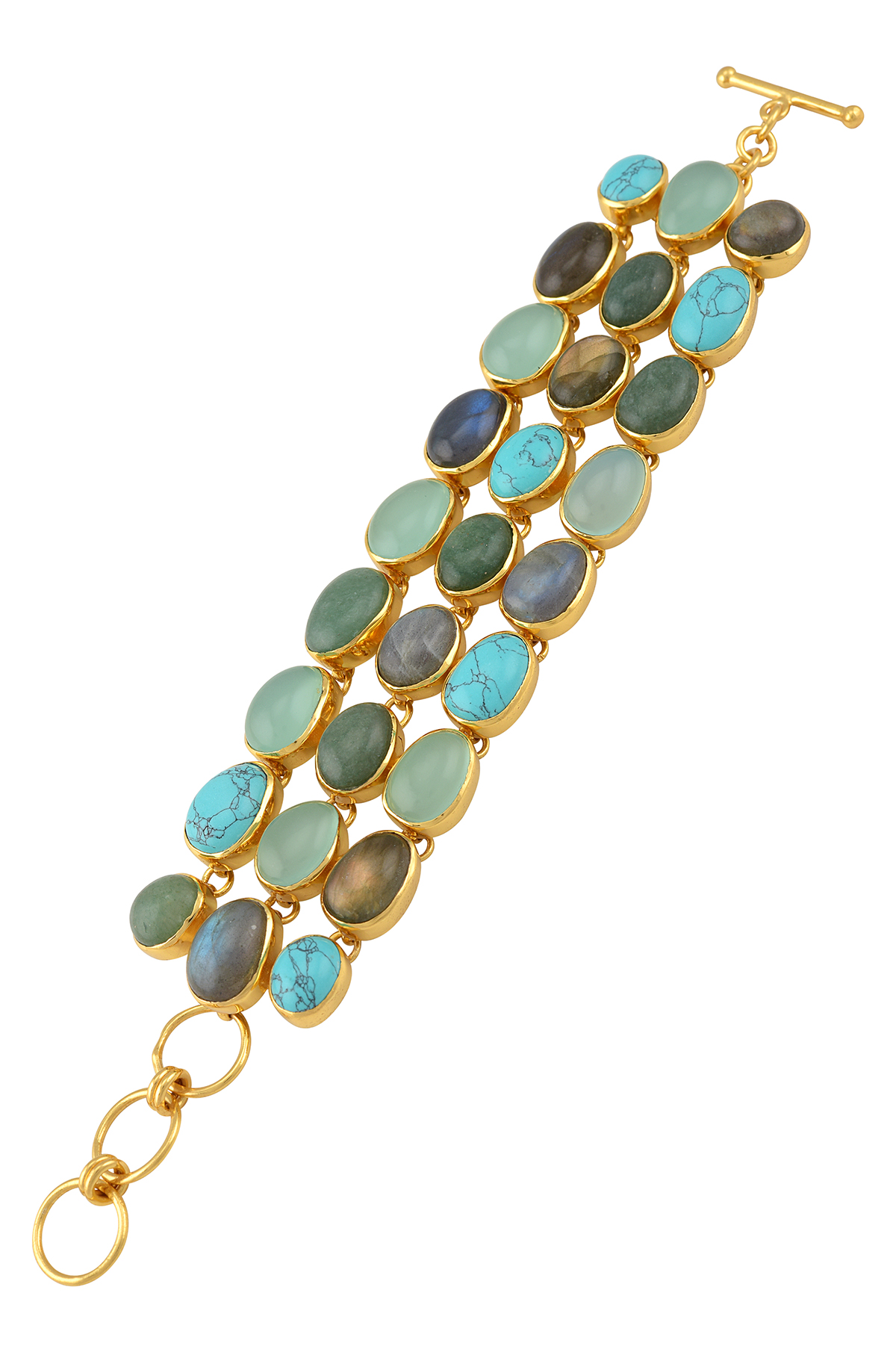 Gold Plated Multi Stone Triple Row Bracelet
