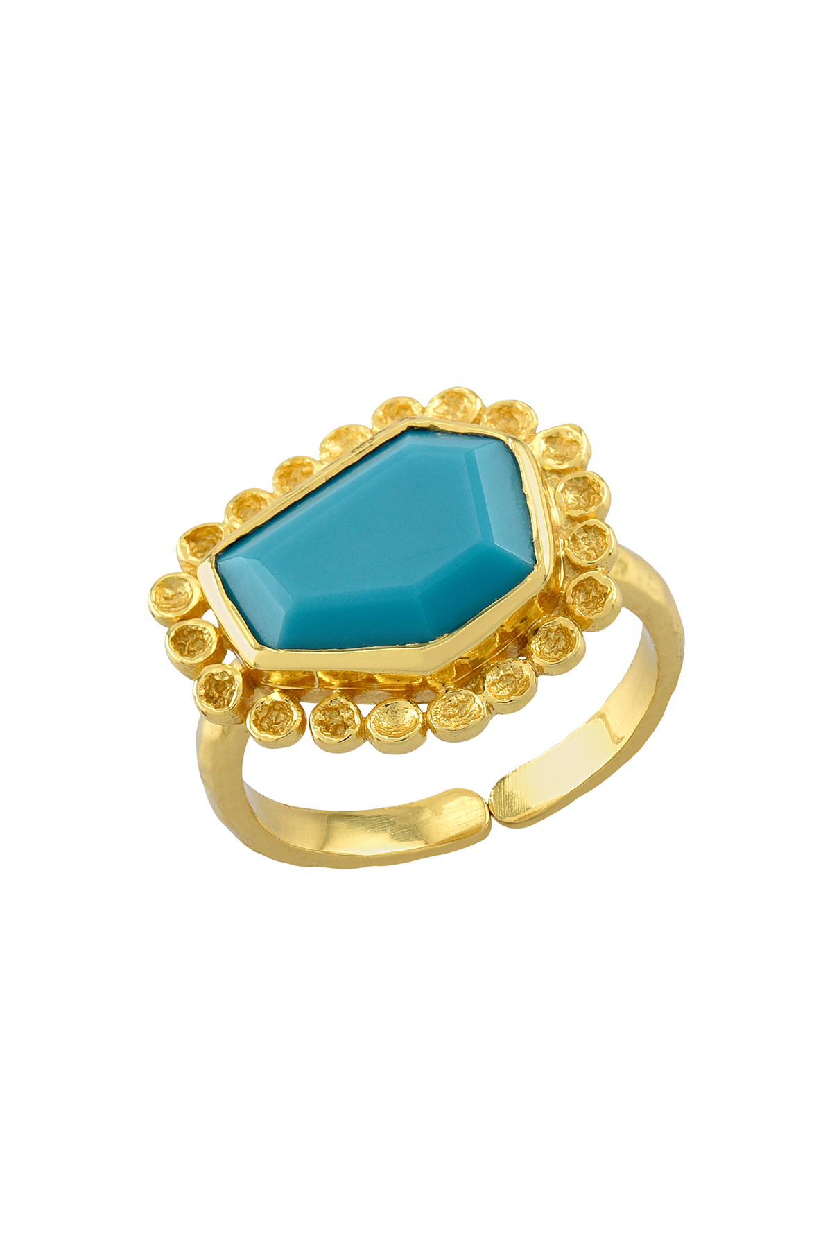 Gold Plated Six Sided Polygon Turquoise Ring