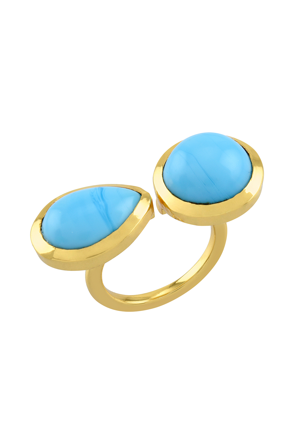 Gold Plated Pear Round Turquoise Ring