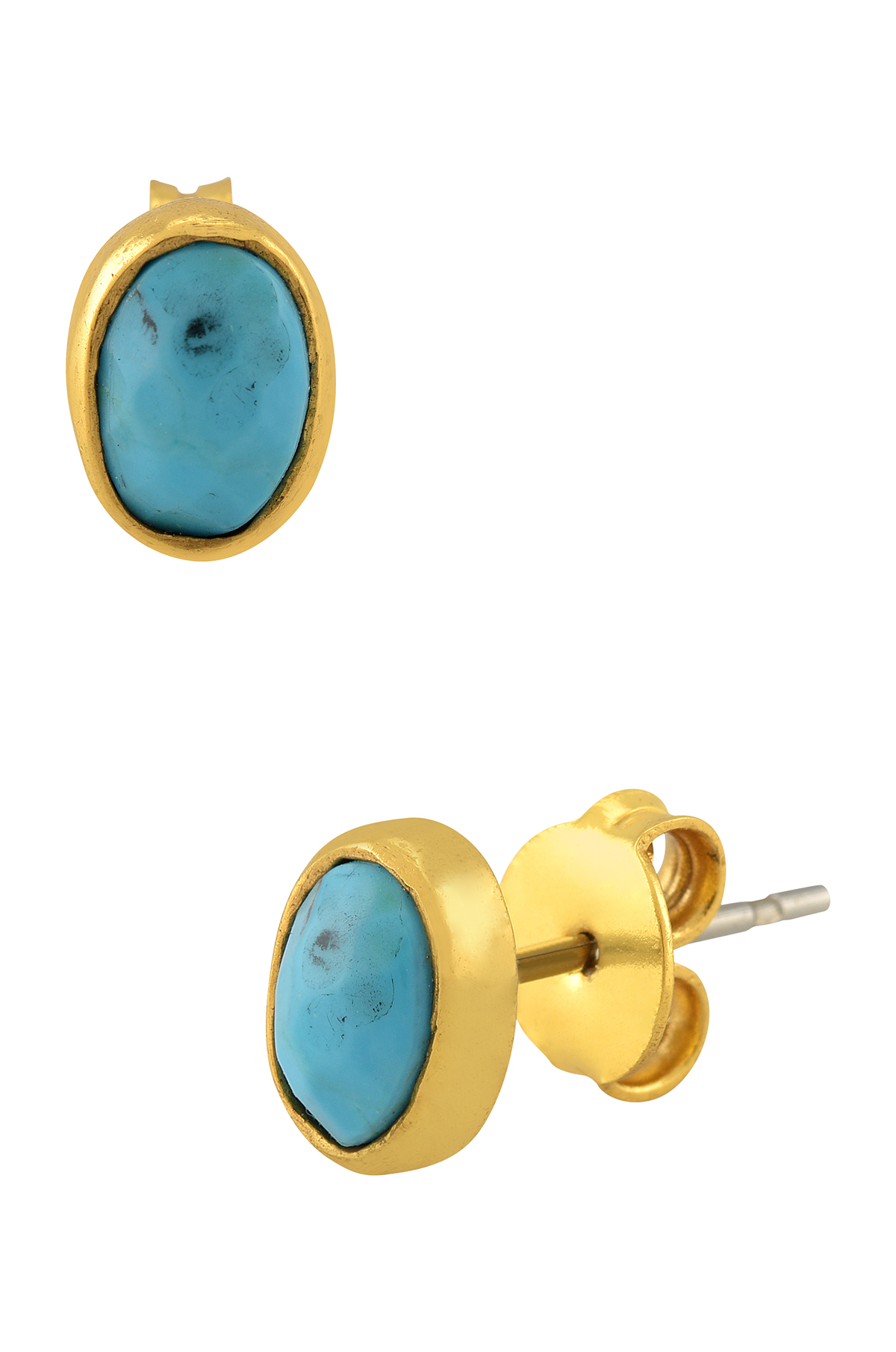 Gold Plated Oval Turquoise Ear Stud