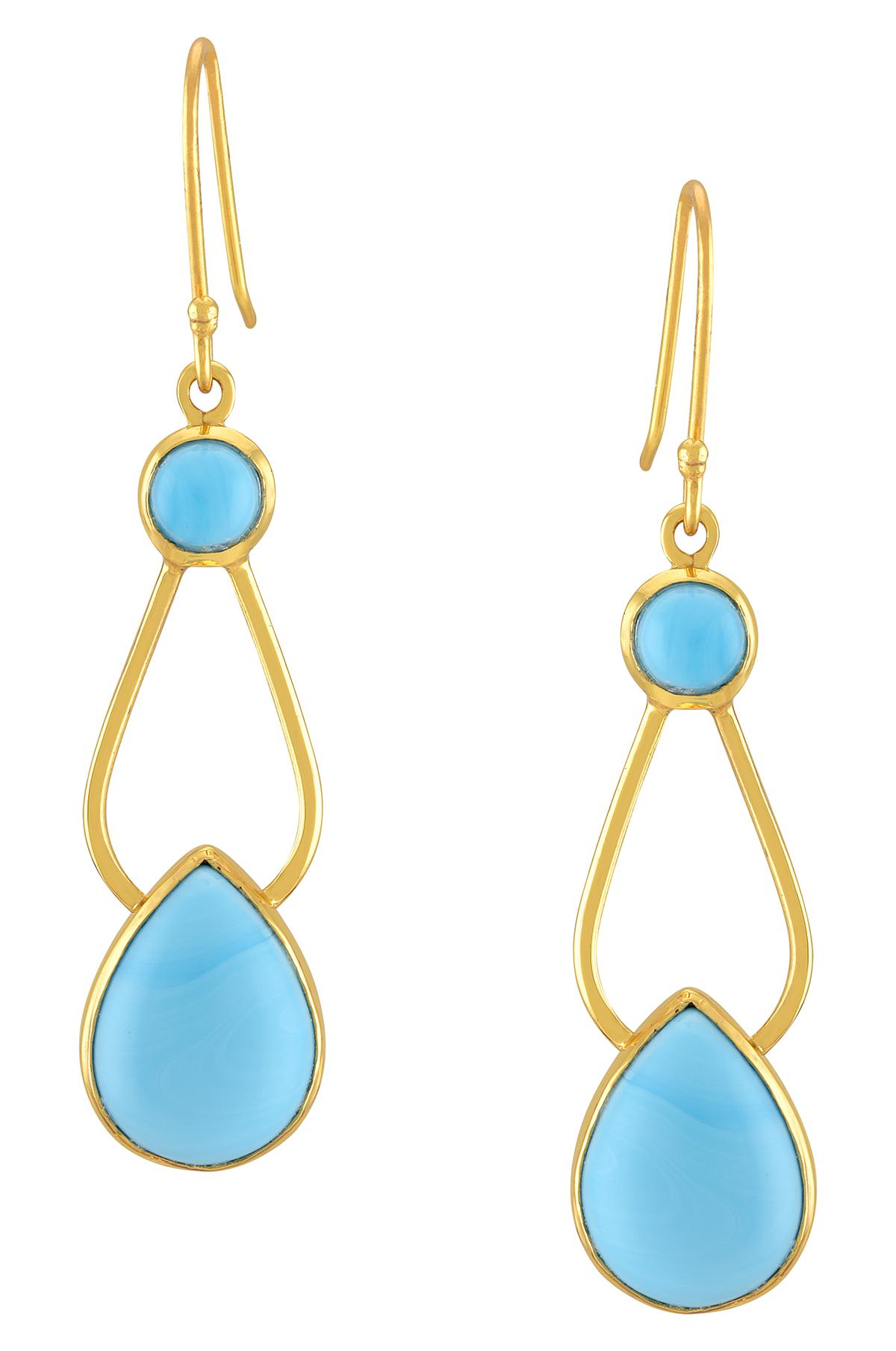 Gold Plated Pear Dangle Earrings
