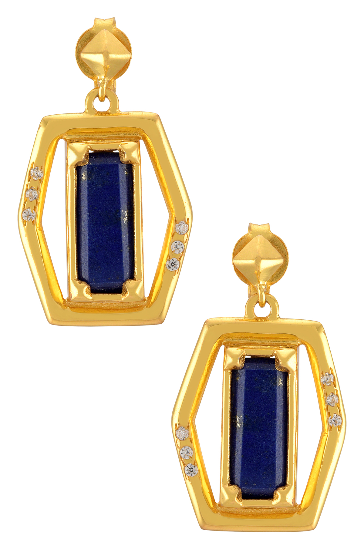 Gold Plated Polygon Lapis Dangle Earrings