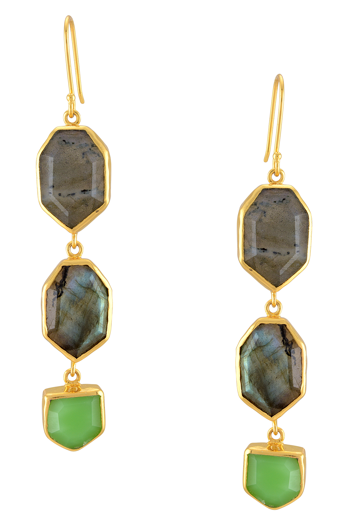 Gold Plated Labradorite Glass Earrings