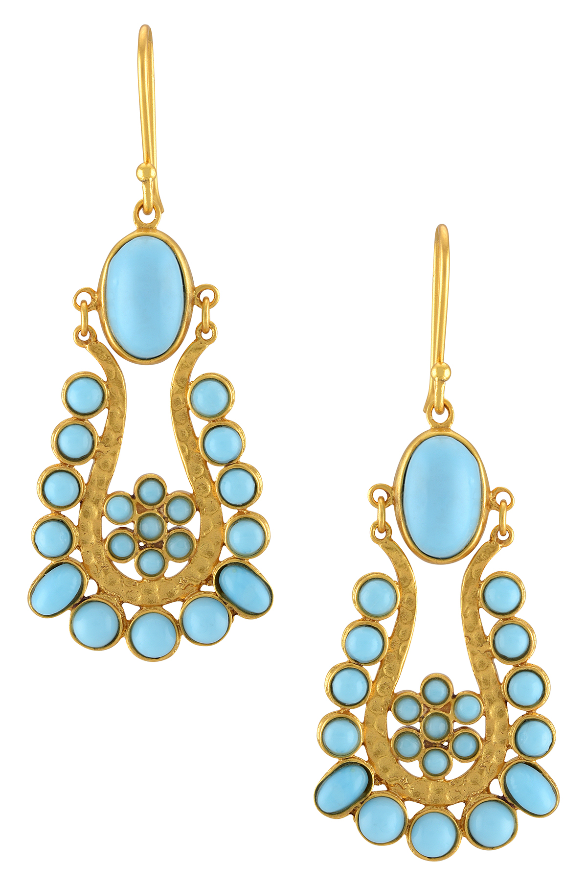 Gold Plated Sky Blue Glass Dangle Earrings