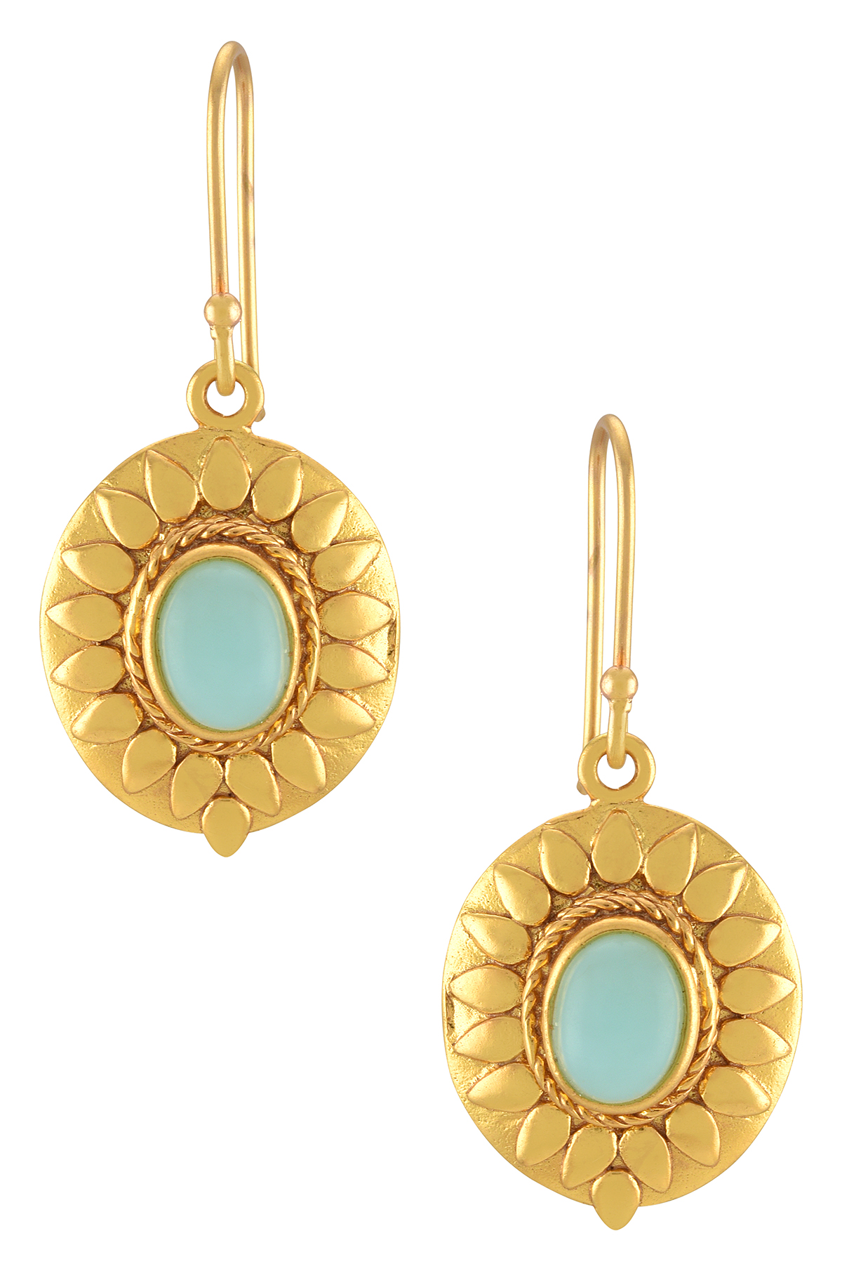 Gold Plated Sky Blue Glass Floral Earrings