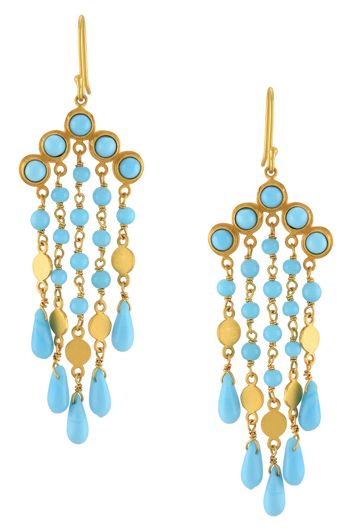 Gold Plated Five Strand Tassel Earrings