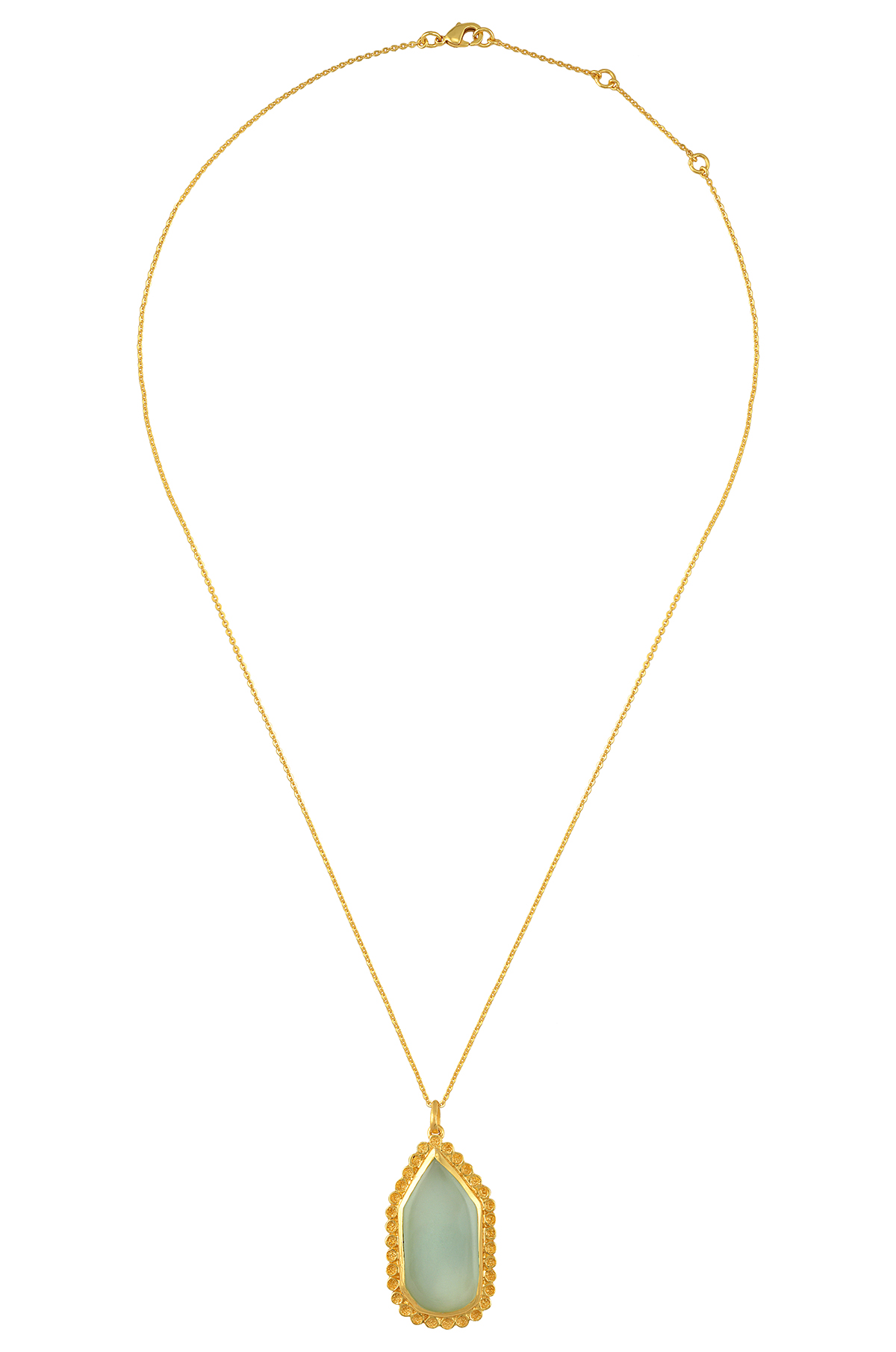 Gold Plated Abstract Glass Chain Pendant