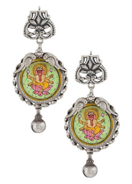 Silver Oxidised Lotus Peacock Vinayaka Earrings
