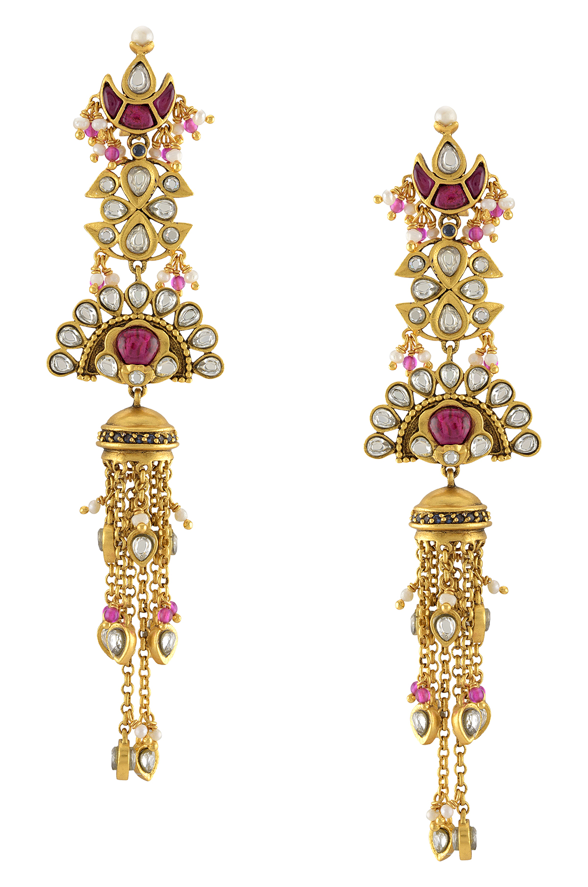 Silver Gold Plated Moon Floral Jhumki Earrings