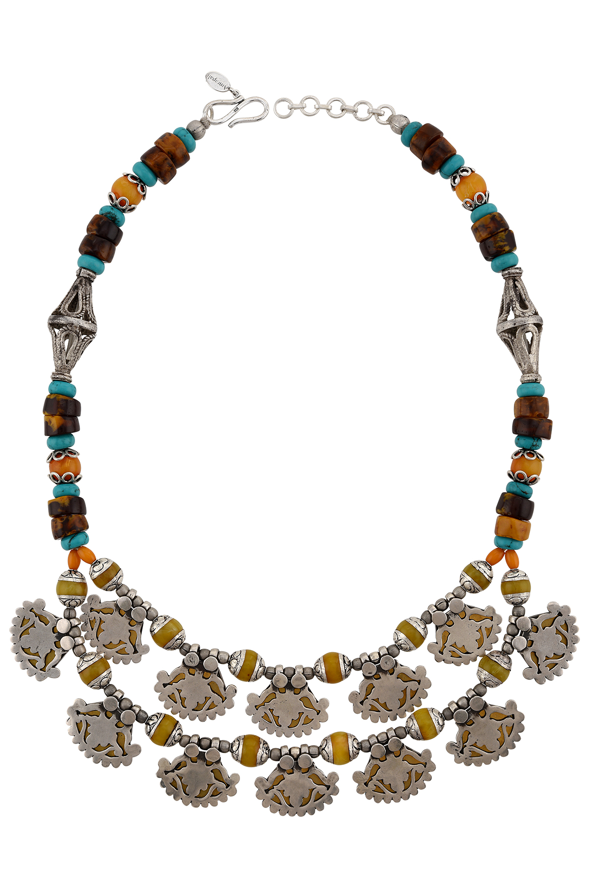Silver Turquoise Amber Agate Floral Necklace